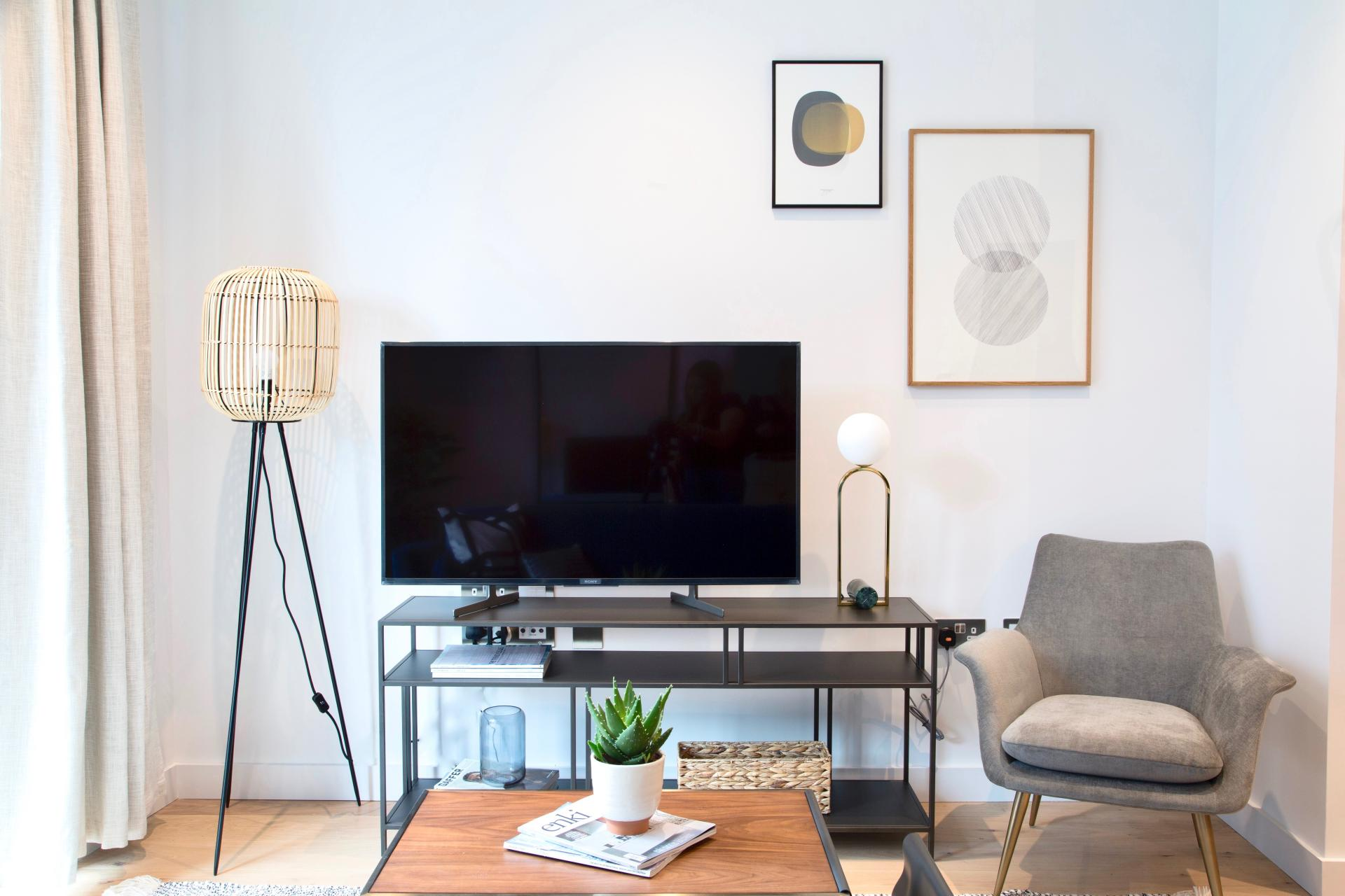 TV at London City Island Apartment, Leamouth, London