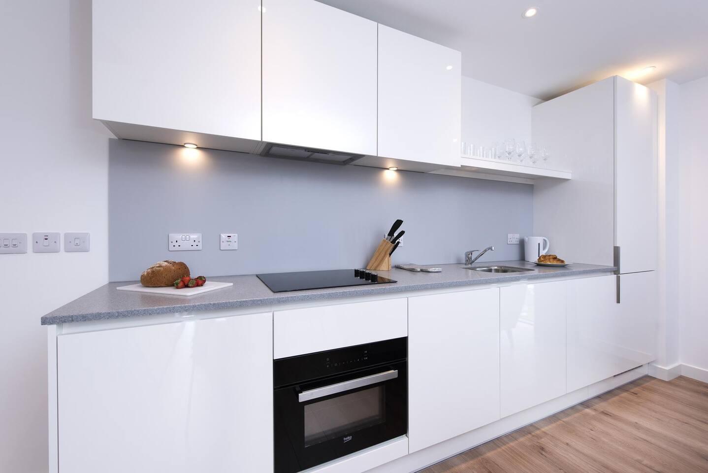 Sleek kitchen at The Lansdowne Apartments, Ladywood, Birmingham