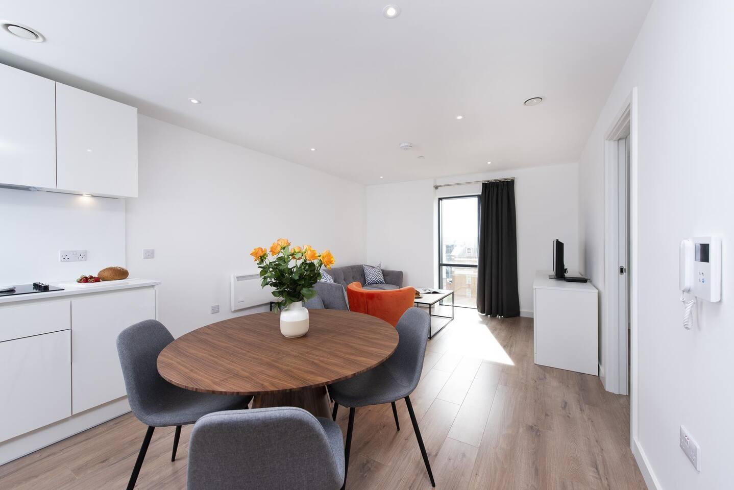 Dining area at The Lansdowne Apartments, Ladywood, Birmingham