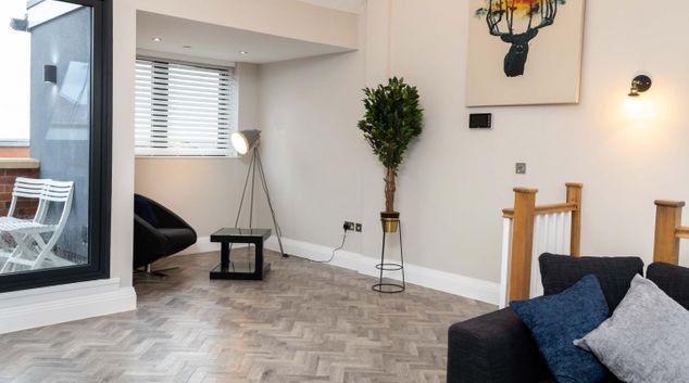 Living area at Platinum House, Jewellery Quarter, Birmingham