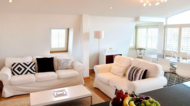 Living area at Hampton Court Penthouse, Hampton Court, London