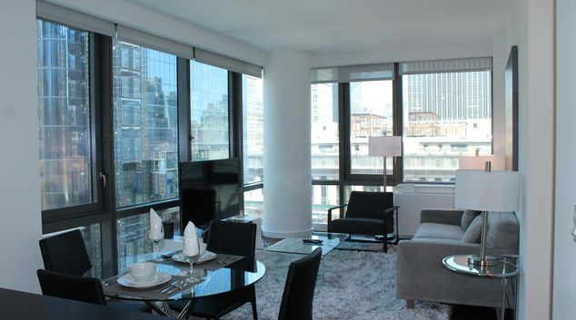 Living room at 435 Eugene Apartments, Manhattan, New York