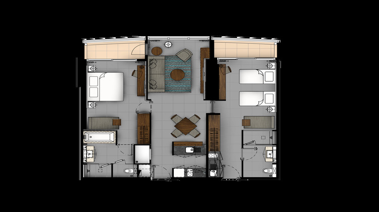 2 BR Premier Suite floor plan at The River Residences, Bang Lamphu Lang, Bangkok