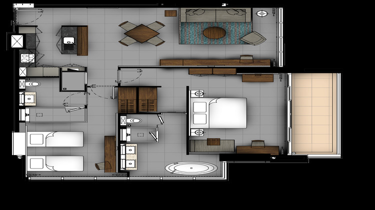 2 BR Moroni Suite floor plan at The River Residences, Bang Lamphu Lang, Bangkok