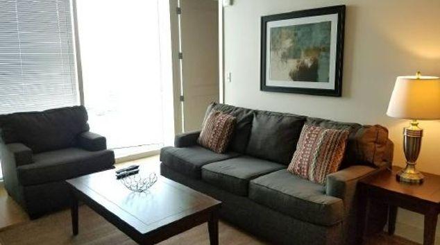 Living area at SkyHouse Apartment, Lake Eola Heights, Orlando
