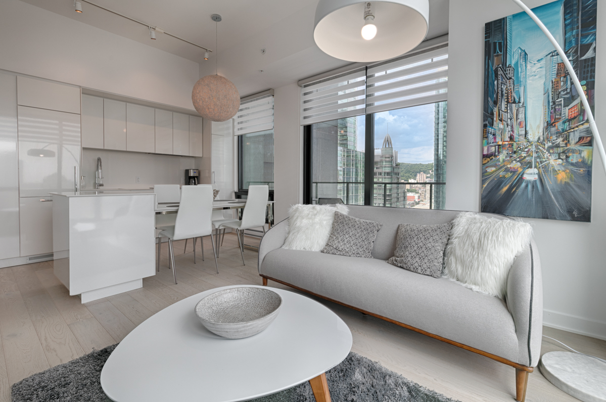 Living room at Tour des Canadiens Apartments, Centre, Montreal
