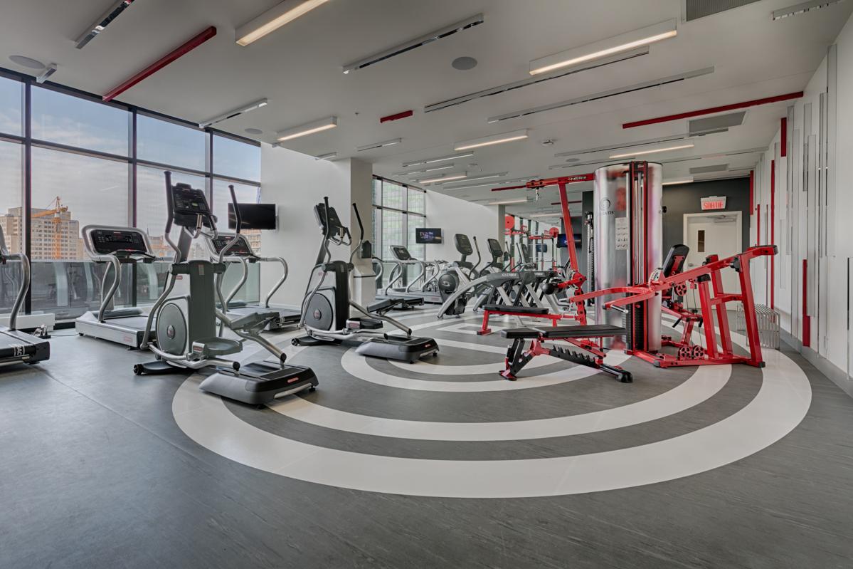 Fitness centre at Tour des Canadiens Apartments, Centre, Montreal