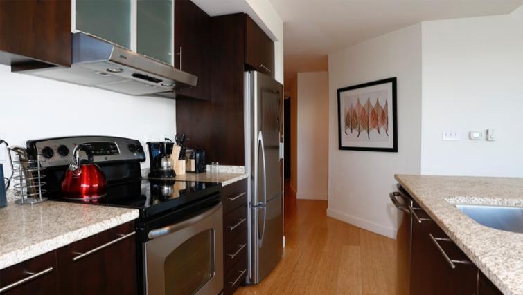 Contemporary kitchen area in 1330 Boylston Apartments