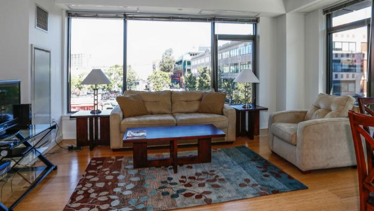 Bold living room in 1330 Boylston Apartments