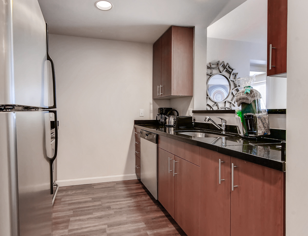 Kitchen at Fenway Triangle Trilogy Apartments, Brookline, Boston