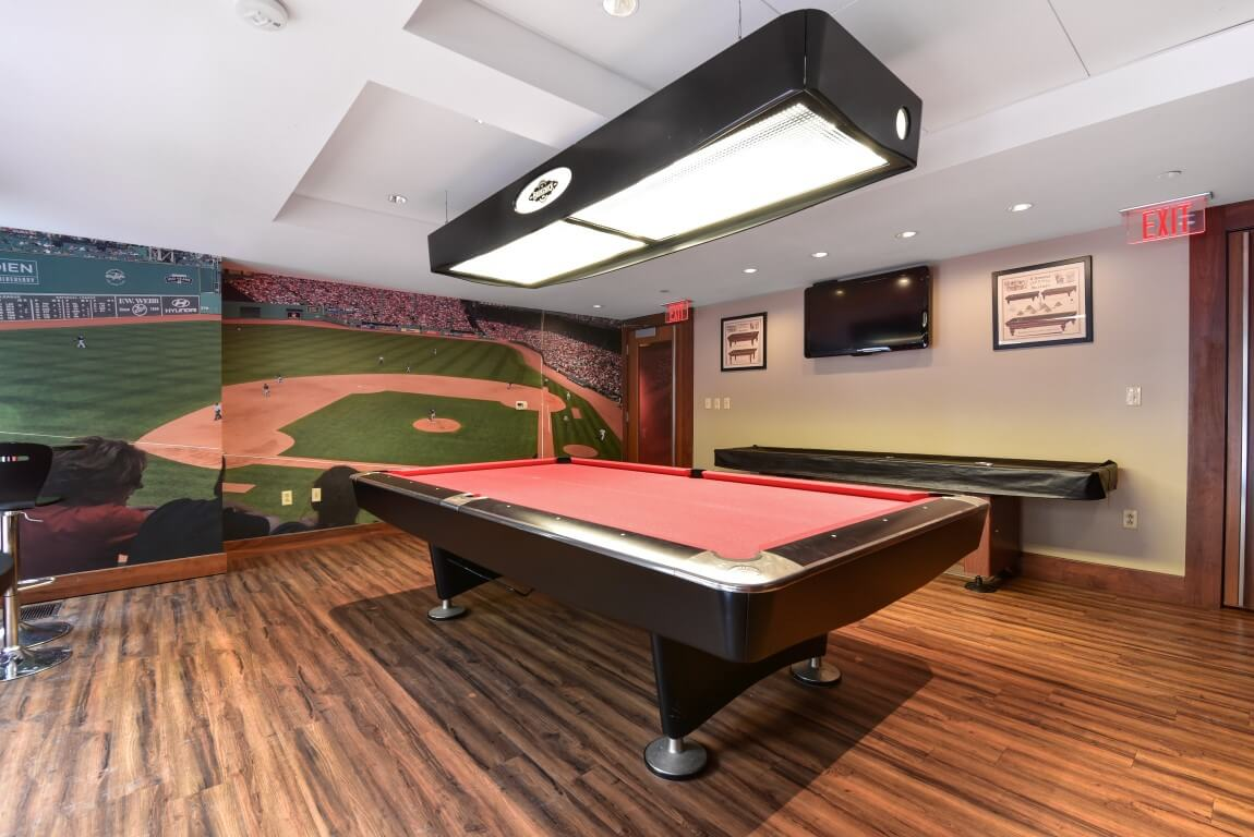 Games room at Fenway Triangle Trilogy Apartments, Brookline, Boston