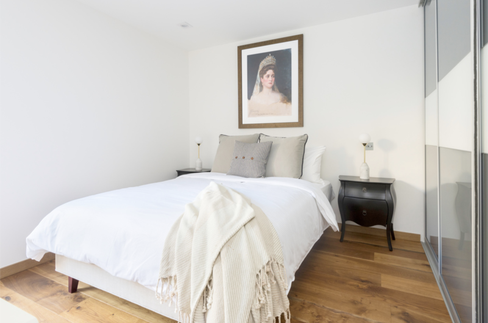 Bright bedroom at Drum Court Apartments, Barnsbury, London
