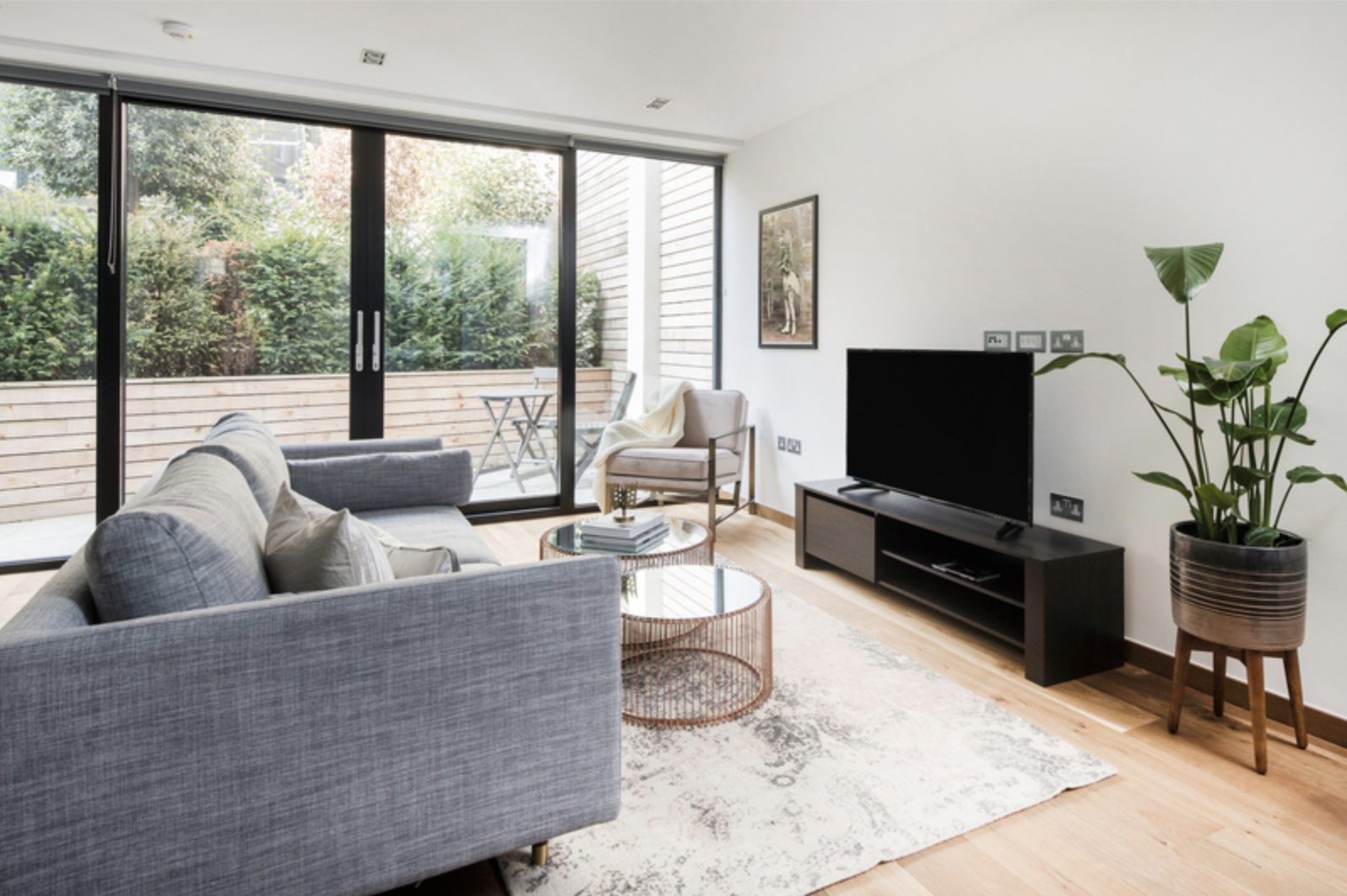 Living room at Drum Court Apartments, Barnsbury, London