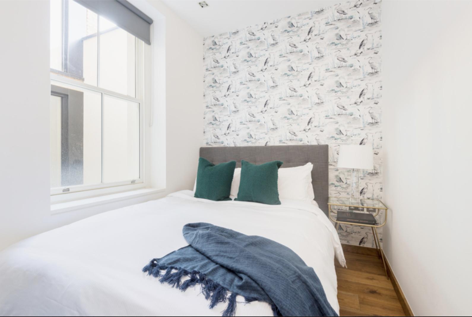 Green pillows at Drum Court Apartments, Barnsbury, London