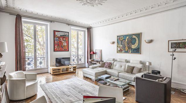 Living area at Haussmanain Apartment Madeleine, 9th Arr, Paris