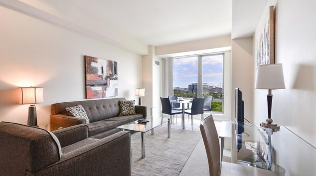 Living room at Asteria at West End Apartments, Centre, Boston