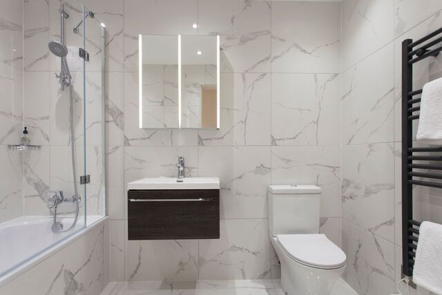 Modern bathroom at Brixham Court Apartments, Centre, Staines