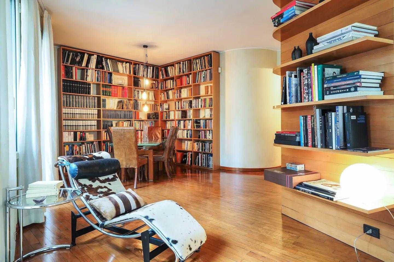 Library at The Scholar Apartment, Porta Nuova, Milan