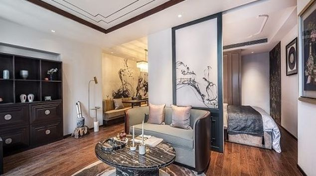 Living Room at Eastern House Apartments, Changyang, Beijing