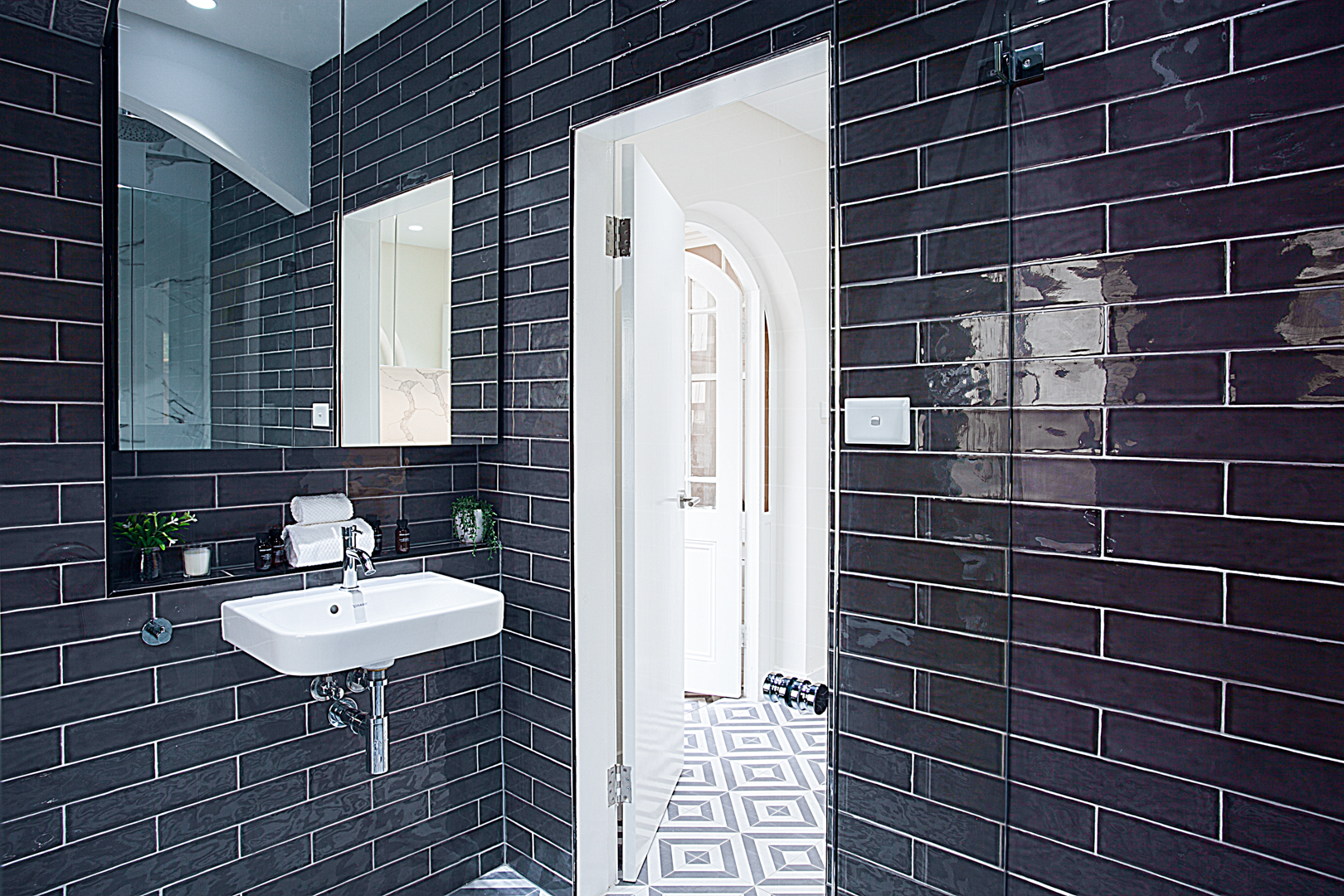 Black tiles at The Miller Apartment, The Rocks, Sydney