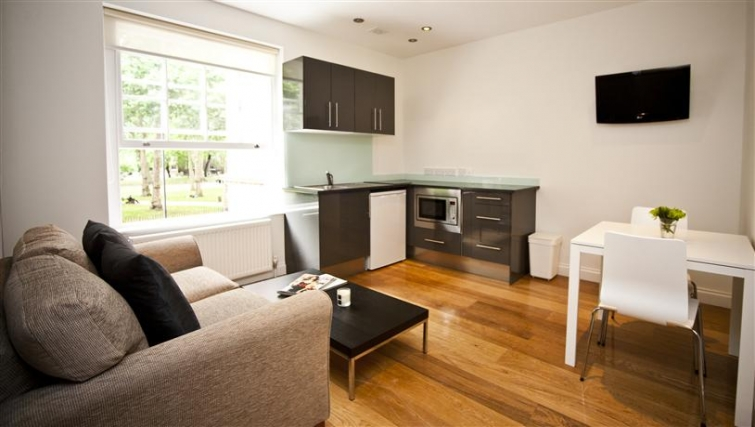 Open living area at Paddington Green Apartments