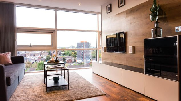 Living room at Milliners Wharf Apartment, New Islington, Manchester