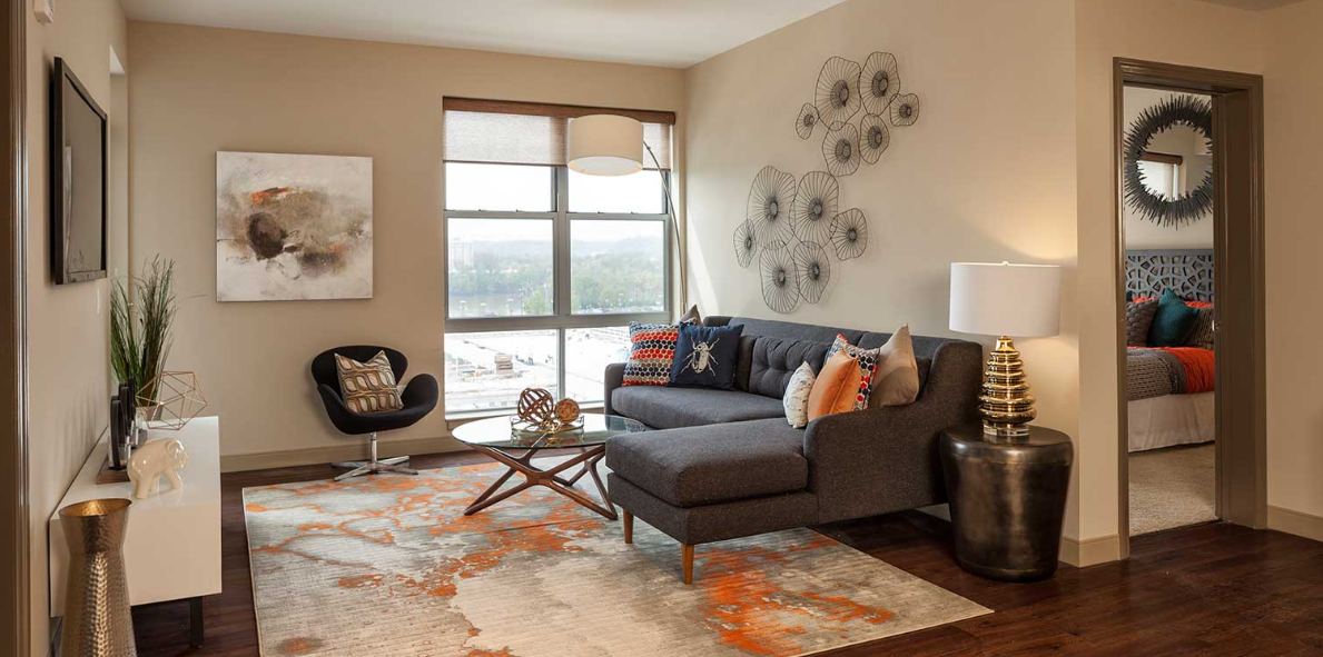 Living area at Radius at the Banks, Central Business District, Cincinnati