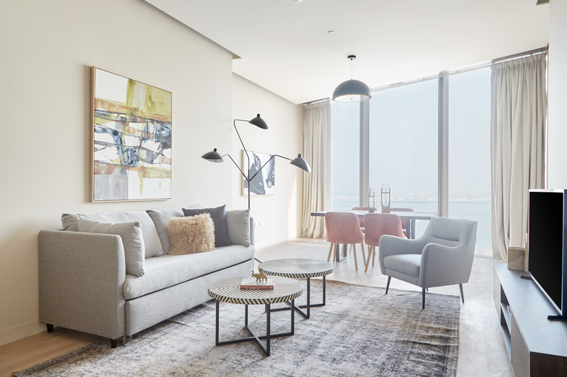 Living area at JBR Suites, Dubai Marina, Dubai