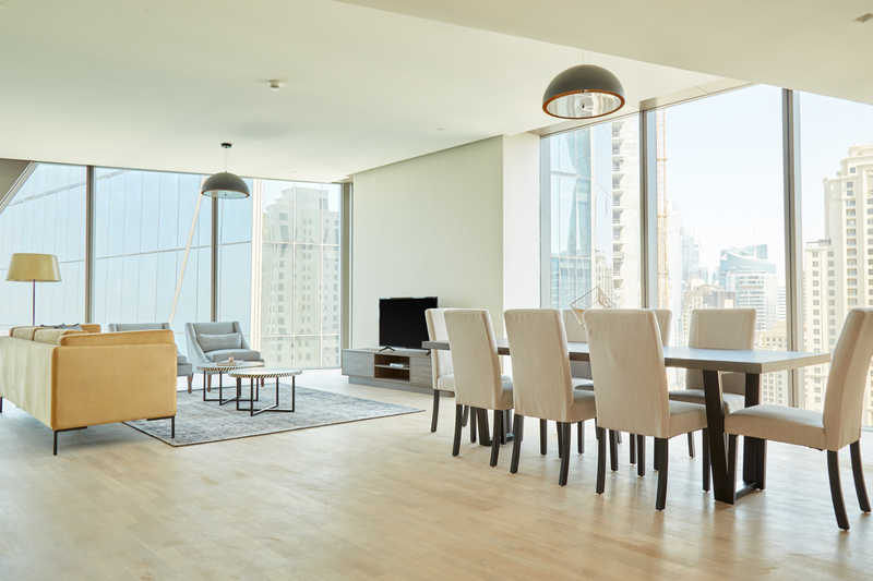 Floor to ceiling windows at JBR Suites, Dubai Marina, Dubai