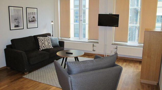 Living room at Vanliga Halsningar Apartments, Möllevången, Malmö