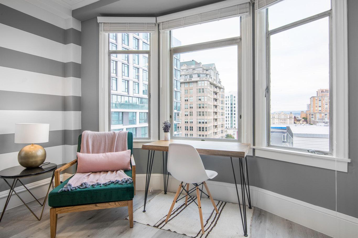Work desk at 1801 California Street Apartments, Polk Gulch, San Francisco