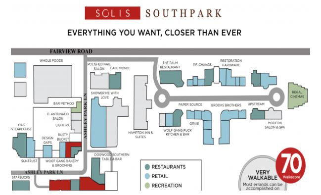 Map of Solis Southpark Apartments, Barclay Downs, Charlotte