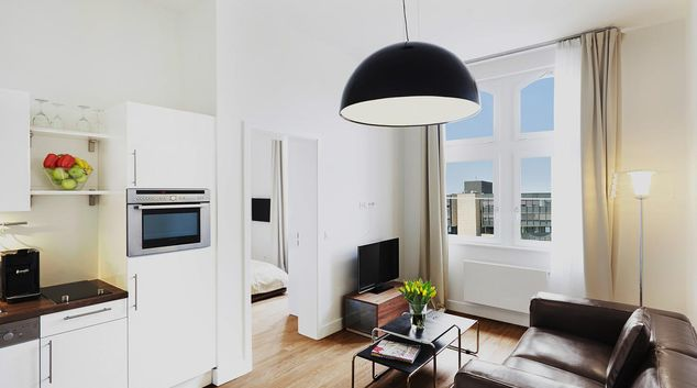 Living area at Hubertusstr Apartment, Altstadt, Dusseldorf