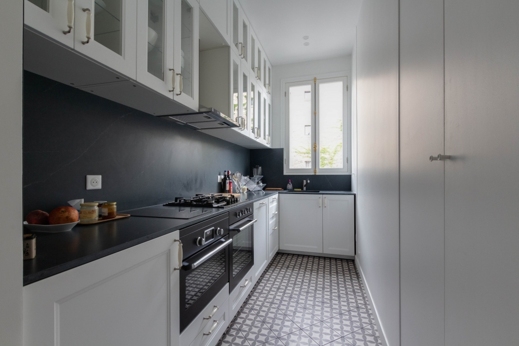Fully equipped kitchen at White Mozart Apartment, 16th Arr, Paris