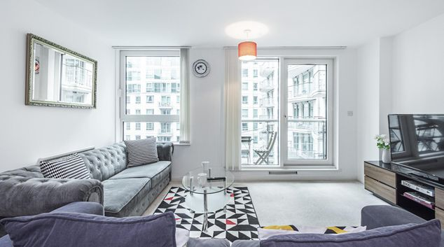 Living area at Anchor House Apartment, Vauxhall, London