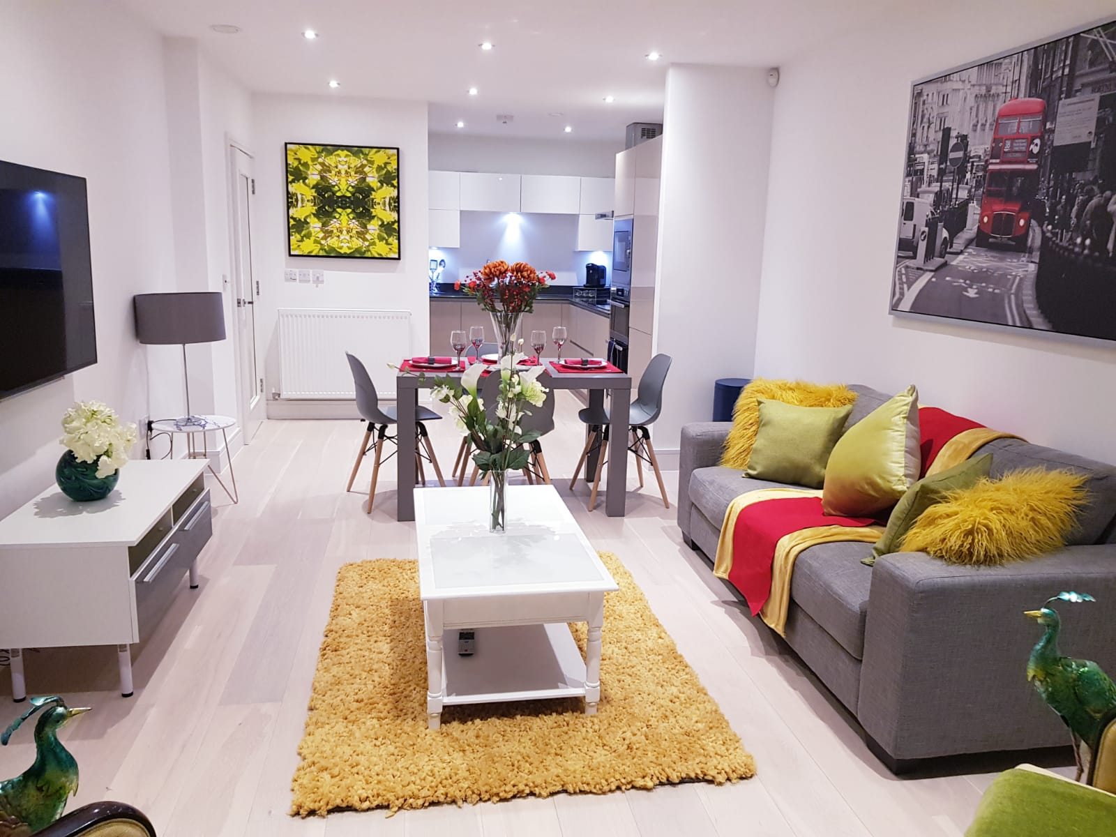 Lounge at Noble House Apartment, Chiswick, London