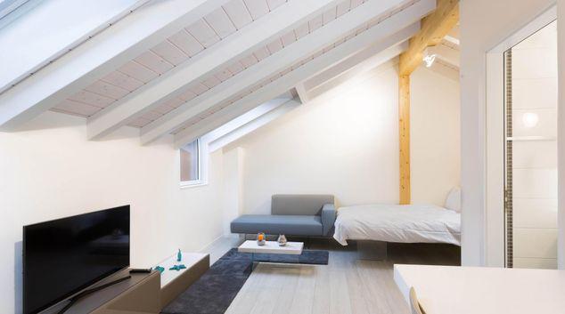Living area at Haldimand Studio, Centre, Lausanne