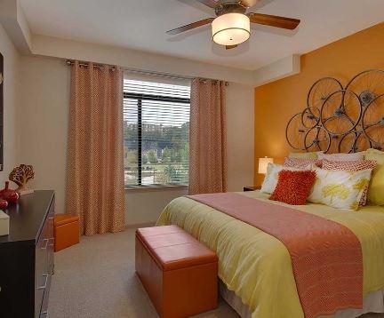 Bed at 641 Amli Ponce Park Apartment, Old Fourth Ward, Atlanta