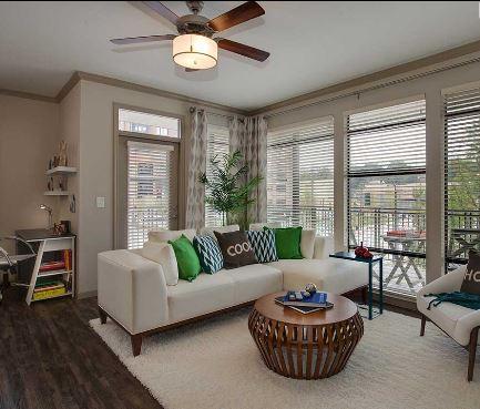 Living room at 641 Amli Ponce Park Apartment, Old Fourth Ward, Atlanta