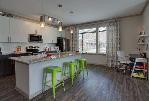 Kitchen at 641 Amli Ponce Park Apartment, Old Fourth Ward, Atlanta