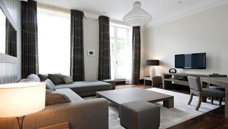 Modern living room at 130 Queens Gate Apartments