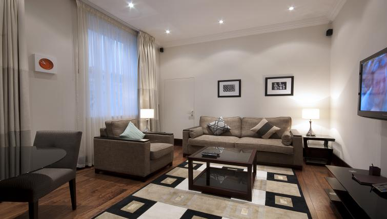 Modern living area at 130 Queens Gate Apartments