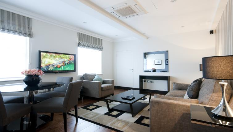 Living room at 130 Queens Gate Apartments