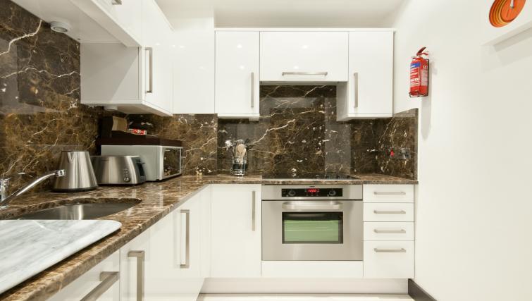 Modern kitchen at 130 Queens Gate Apartments
