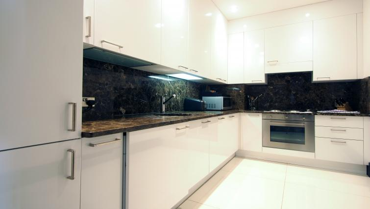 Equipped kitchen at 130 Queens Gate Apartments