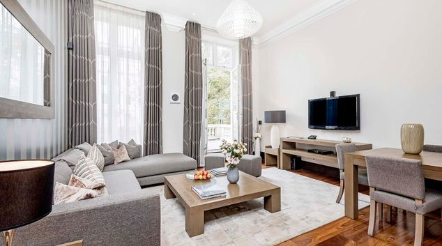 Living room at 130 Queens Gate Apartments, South Kensington, London