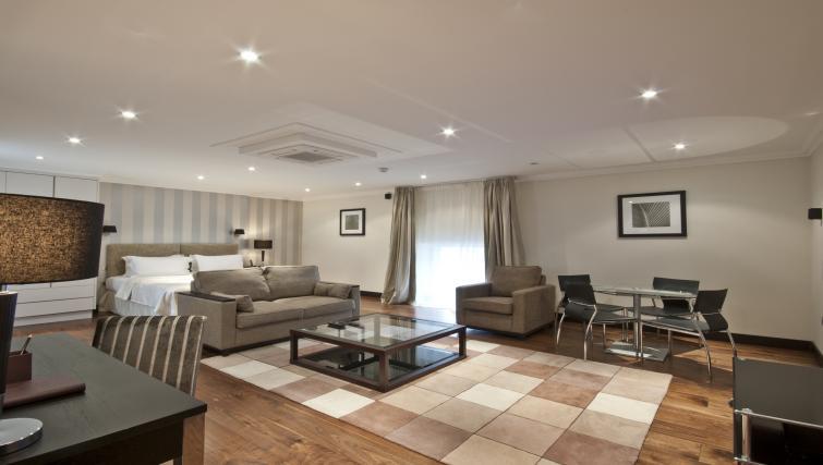 Studio living area at 130 Queens Gate Apartments