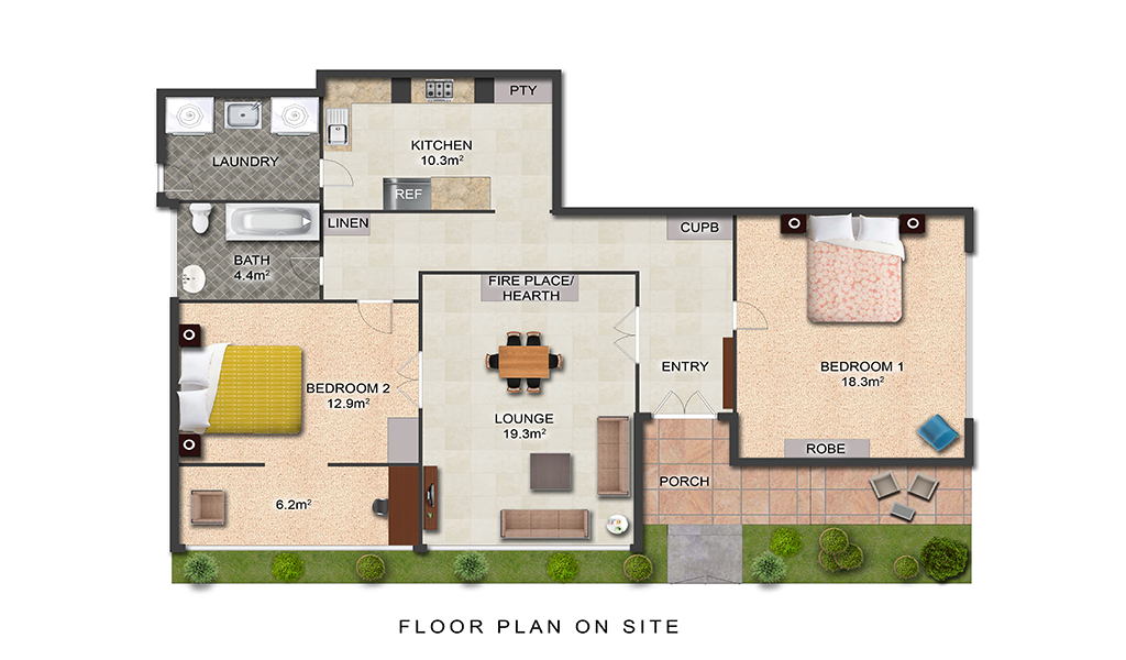 Floor plan at Elanora by the Bay, St Kilda, Melbourne