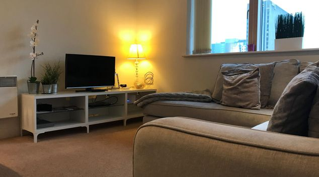 Living room at Canal Wharf Apartment, Westside, Birmingham