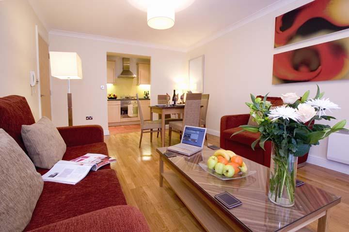 Living room at Premier Suites Bristol Redcliffe Apartments